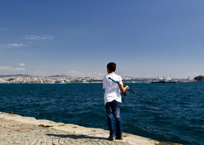 Istanbul, fisherman at the Galata Bridge